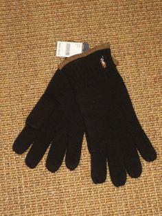 POLO RALPH LAUREN   MEN'S   GLOVES  MERINO WOOL BLACK  PONY LOGO NEW $55 TAG #PoloRalphLauren #WinterThermalGloves
