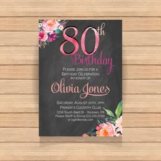 Eighty birthday party Watercolor Floral Chalkboard by CoolStudio