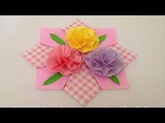 折り紙 カーネーション 壁飾り、テーブル飾りの作り方(niceno1)Origami Flower Carnation ornament tutorial - YouTube