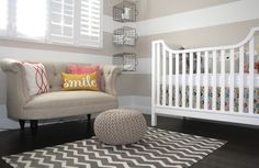 Wire Baskets hung sideways as shelves in striped neutral nursery with tufted love seat - Baby James Nevins's Nest by cerissac via Project Nursery