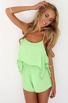 Cheap Sexy Spaghetti Strap Sleeveless Crossed Backless Tassels Design Solid Green Polyester One-piece Regular Jumpsuit