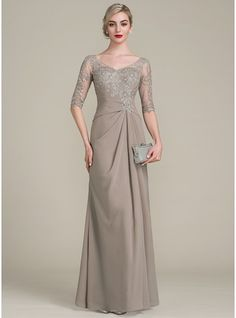 A-Line/Princess V-neck Floor-Length Chiffon Lace Mother of the Bride Dress With Ruffle (008102681) - JJsHouse