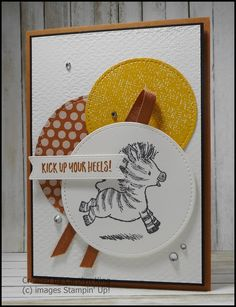A fun card made using the Zany Zebras stamp set and two of the 2020-2022 In colours Busy At Work, Animal Cards, Stamping Up, Zebras, Embossing Folder, Cool Cards, Homemade Cards, Stampin Up Cards, Card Stock
