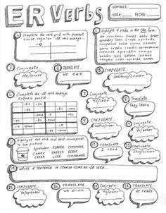"""An original hand illustrated worksheet. This worksheet provides an opportunity to practice working with the irregular verb """"ser"""". Students will conjugate the verb, translate (English to Spanish), create a sentence, and work on a """"ser"""" sudoku puzzle. Spanish Classroom Activities, Spanish Teaching Resources, Spanish Language Learning, Spanish Lessons, Spanish Basics, French Resources, Foreign Language, Classroom Ideas, Spanish Verb Ser"""