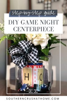 Add this fun game night centerpiece to your dining table, or make this DIY as a fun gift for a friend! Learn how to make this fun centerpiece with my simple DIY tutorial!  #gamenight #diygift #tablescape Scrabble Cards, Shape Games, Dollar Tree Crafts, Diy Games, Diy Centerpieces, Game Pieces, Buffalo Check, Game Night, Simple Diy