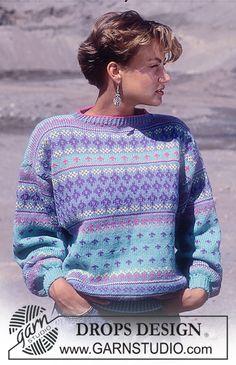 Småmønsteret nordisk DROPS genser i Karisma Drops Design, Fair Isle Knitting, Free Knitting, Sewing Sleeves, 80s And 90s Fashion, Knit Art, Crochet Wool, Sweater Knitting Patterns, Crochet Patterns