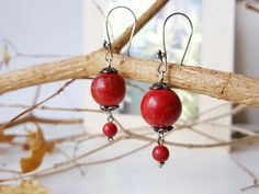 Vermillion Earrings Sponge Coral Earrings Ethically Sourced Jewelry Romantic Gypsy Earrings Gift For Wife 35th Wedding Anniversary Earrings