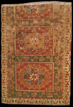 Fragment of a large pattern Holbein carpet, Anatolia, late 15th, early 16th century wool pile on wool foundation Museum für Islamische Kunst, Staatliche Museen zu Berlin, Berlin, Germany