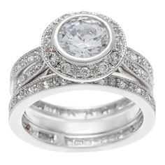 <li>Round-cut cubic zirconia</li><li>Sterling silver ring set</li><li><a href='http://www.overstock.com/downloads/pdf/2010_RingSizing.pdf'><span class='links'>Click here for ring sizing guide</span></a></li>