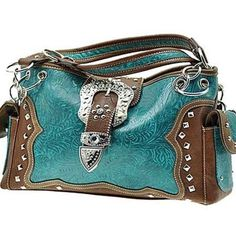 Turquoise Western Cowgirl Women Purse Handbag Tooled Faux Leather Belt... ($49) ❤ liked on Polyvore