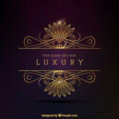 logotipo decorativo dourado luxuoso Vetor Premium