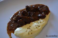 Carrillada de cerdo iberico sobre crema de patata - La Cocinillas