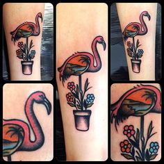 justjentattoos flamingo tattoo
