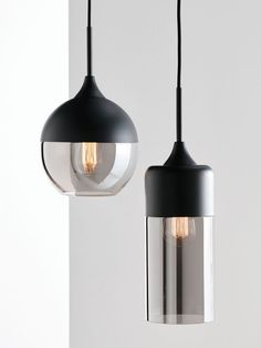 NEW Lunar 1 Light Small Cylinder Pendant in Black/Smoke - Beacon Lighting