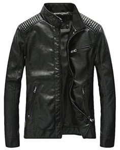 Faux Leather Coats Generous Moto Biker Stand Men Faux Leather Jacket Slim Rivet Mens Jackets And Coats Solid Zippers Motorcycle Overcoat High Standard In Quality And Hygiene Men's Clothing