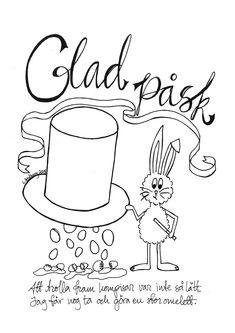 Glad påsk! Påskbrev med magisk hatt! Att skriva ut och färglägga. Easter letter for coloring.  #utskrift #påskbrev #måla #påsk