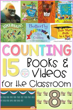15 counting books and videos for kids to give a visual and auditory lesson in the foundational skill of numeracy. Perfect for prek, preschool, kindergarten, and first grade teachers. #countingbooks #countinglessons #counting #teachcounting #countingvideos #kindergartenmath