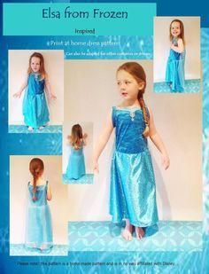 Elsa From Frozen inspired dress pattern Girls by CerMeggioDesigns, £2.49