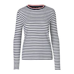 Lindsey Striped Top (£50) ❤ liked on Polyvore featuring tops, striped top, striped long sleeve top, stripe top and long sleeve tops