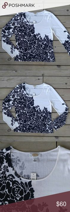 """Talbot Floral Printed Shirt New with tags! Armpit to armpit measures 18.5"""" Shoulder to hem measures 23"""" Love the item but not the price? Please make an offer! Thanks for looking! Talbots Tops Tees - Long Sleeve"""