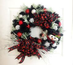 Snowman Wreath * Holiday Wreath * Christmas Wreath * Red and Black Wreath * Front Door Wreath * Christmas Decorations * Holiday Decor by englishrosedesignsoh on Etsy