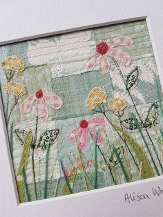 Original textile art echinacea flowers | Etsy #fabriccraftsideas