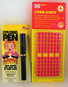 EXPLODING PEN WITH CAPS........ Tired of having your pen never returned when you loan it out. Well, we have just the prank for you. Our special pen allows you to load it with a cap and when the thief tries to use the pen... BANG! www.theonestopfunshop.com