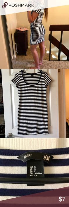 """Navy striped tight dress EUC Make and offer! Really cute to layer! Not super tight but just enough! 34"""" in length H&M Dresses"""
