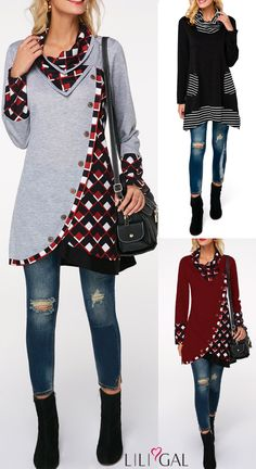 Time to add some streamlined style to your wardrobe with these casual long hoodies&sweatshirts from Liligal, With a cowl neck and plaid prints, warm and comfy, these stylish finds are effortless looks for chilly day life. Fall Outfits, Cute Outfits, Do It Yourself Fashion, T Shirt Diy, Long Hoodie, Hoodies, Sweatshirts, Dress Patterns, Plus Size Fashion