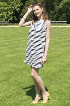 White and Nave Polka Dot  Classic and elegant 60s dress with pockets  www.thesame.eu