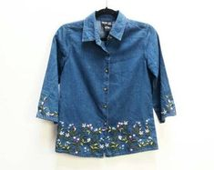 Check out our embroidered blouse selection for the very best in unique or custom, handmade pieces from our blouses shops. Denim Button Up, Button Up Shirts, Embroidered Blouse, Men Casual, Mens Tops, Etsy, Shopping, Fashion, Moda