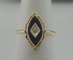 Vintage 10k Gold Onyx & Diamond Ring Marquise Cut Black Onyx Bezel Set & Diamond Sparkly Jewelry, Gemstone Jewelry, Nana Ring, Estate Rings, Black Onyx Ring, Marquise Cut, Vintage Jewelry, Unique Jewelry, Beautiful Rings