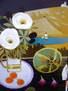 I discovered Mary Fedden recently in England. She was a teacher at the Slade, which is an art school in London. Still Life Drawing, Still Life Art, Vie Simple, Paintings I Love, Floral Paintings, Naive Art, Abstract Flowers, Botanical Art, Painting & Drawing