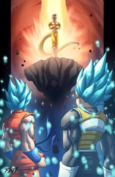 Dragon Ball Super Goku and Vageta vs Frieza Dragon Ball Gt, Dragon Ball Z Shirt, Fairytail, Manga Dragon, Z Arts, Fan Art, The Villain, Cool Art, Anime Art