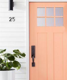 Home Renovation Front Door Repaint the Front Door Coral Front Doors, Coral Door, Front Door Paint Colors, Painted Front Doors, Paint Colors For Home, Orange Door, House Front Door, House Entrance, Front Door Decor