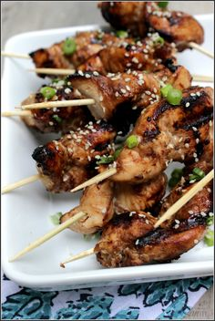 Grilled Sesame Chicken Kabobs a fun & healthier version of our favorite Chinese chicken recipe. Easy, delicious and the chicken turns our juicy.