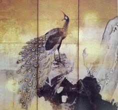 Detail. Peacock and Peahen. Pair of Japanese folding screens. Maruyama Okyo. Eighteenth century.