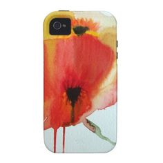 Red Poppies watercolour modern floral art Vibe iPhone 4 Covers