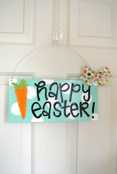 Happy Easter Whimsical Polka Dot Sign by yourethatgirldesigns, $27.95