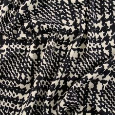 Bold Hounds Plaid Ponte Knit - Ivory/Black - Gorgeous FabricsGorgeous Fabrics