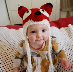 Unisex crochet animal, fox hat with earflaps. Newborn baby to adult sizes available.. £17.50, via Etsy.