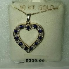 NEW 10KT YELLOW GOLD AND SAPPHIRE NECKLACE BRAND NEW DIAMOND AND SAPPHIRE NECKLACE 10  KT YELLOW GOLD HEART .THIS IS A FABULOUS DEAL BUNDLE AND SAVE BIG.❤THIS IS REAL GOLD AND DIAMOND. NO OVERLAYS. JUST BLING BLING. Jewelry Necklaces