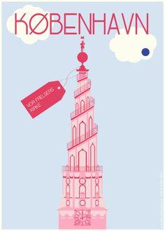 Vor Frelsers Kirke Paleblue Dot - Poster 50x70cm or 30x40cm