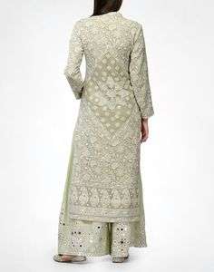 Check out our Sage Chikankari Kurta & Pyjama by ANJUL BHANDARI available at Ogaan Online store at special price. Fine Awadhi hand-embroidered Chikankari in a sage green Pakistani Dresses, Indian Dresses, Indian Outfits, Ethnic Outfits, Indian Attire, Indian Ethnic Wear, India Fashion, Asian Fashion, Women's Fashion