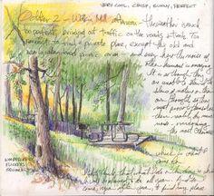 Art: October 2004 by Artist Cathy (Kate) Johnson Drawing Journal, Artist Journal, Watercolor Sketchbook, Artist Sketchbook, Amazing Drawings, Art Drawings, Travel Sketchbook, Nature Sketch, Nature Artists