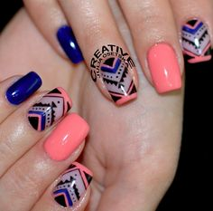 Dark Blue, Coral Peach, with Aztec Accent Nails