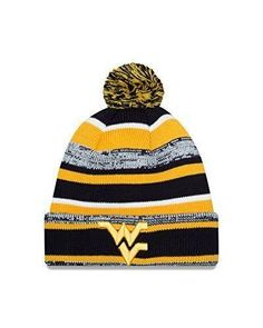 online retailer fcae1 c2113 WVU Mountaineers NWT Pom Knit NCAA Winter Hat New Era West Virginia Hail WV