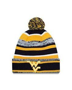 online retailer 27729 50656 WVU Mountaineers NWT Pom Knit NCAA Winter Hat New Era West Virginia Hail WV
