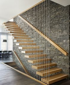 Modern Staircase Design Ideas - Search images of modern stairs as well as find design as well as format ideas to influence your own modern staircase remodel, including unique railings and also storage space . Modern Stair Railing, Stair Railing Design, Home Stairs Design, Staircase Railings, Interior Stairs, Modern House Design, Modern Stairs Design, Staircase Ideas, Railing Ideas