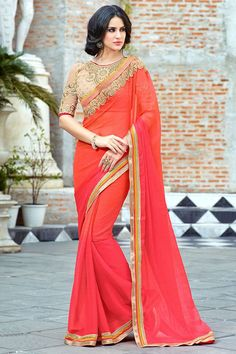 Picture of Graceful orange & pink shaded saree